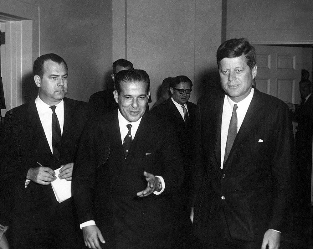 President of Brazil João Goulart walks with President John F. Kennedy
