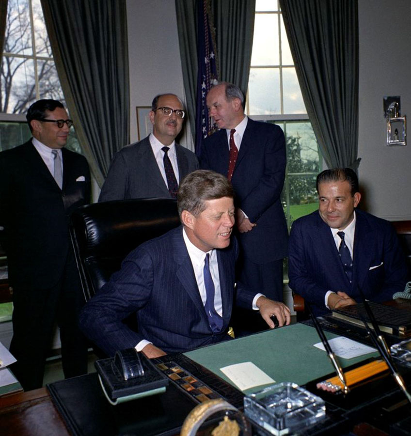 Presidents Kennedy and Goulart meet in the Oval Office on April 3, 1962