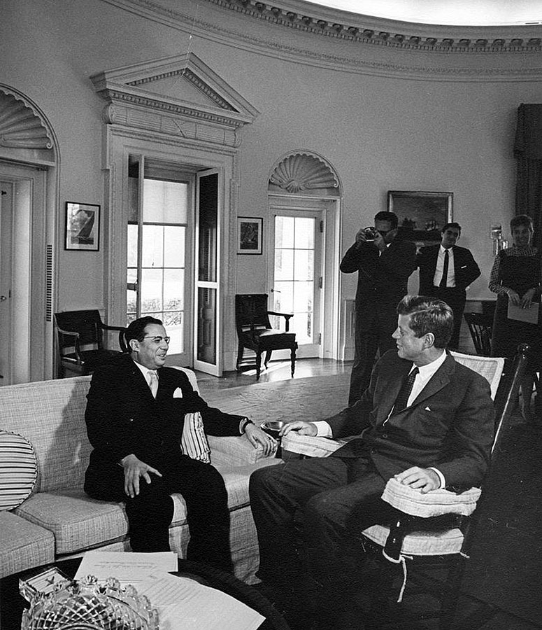 Brazilian Ambassador Roberto Campos meets with JFK in the Oval Office