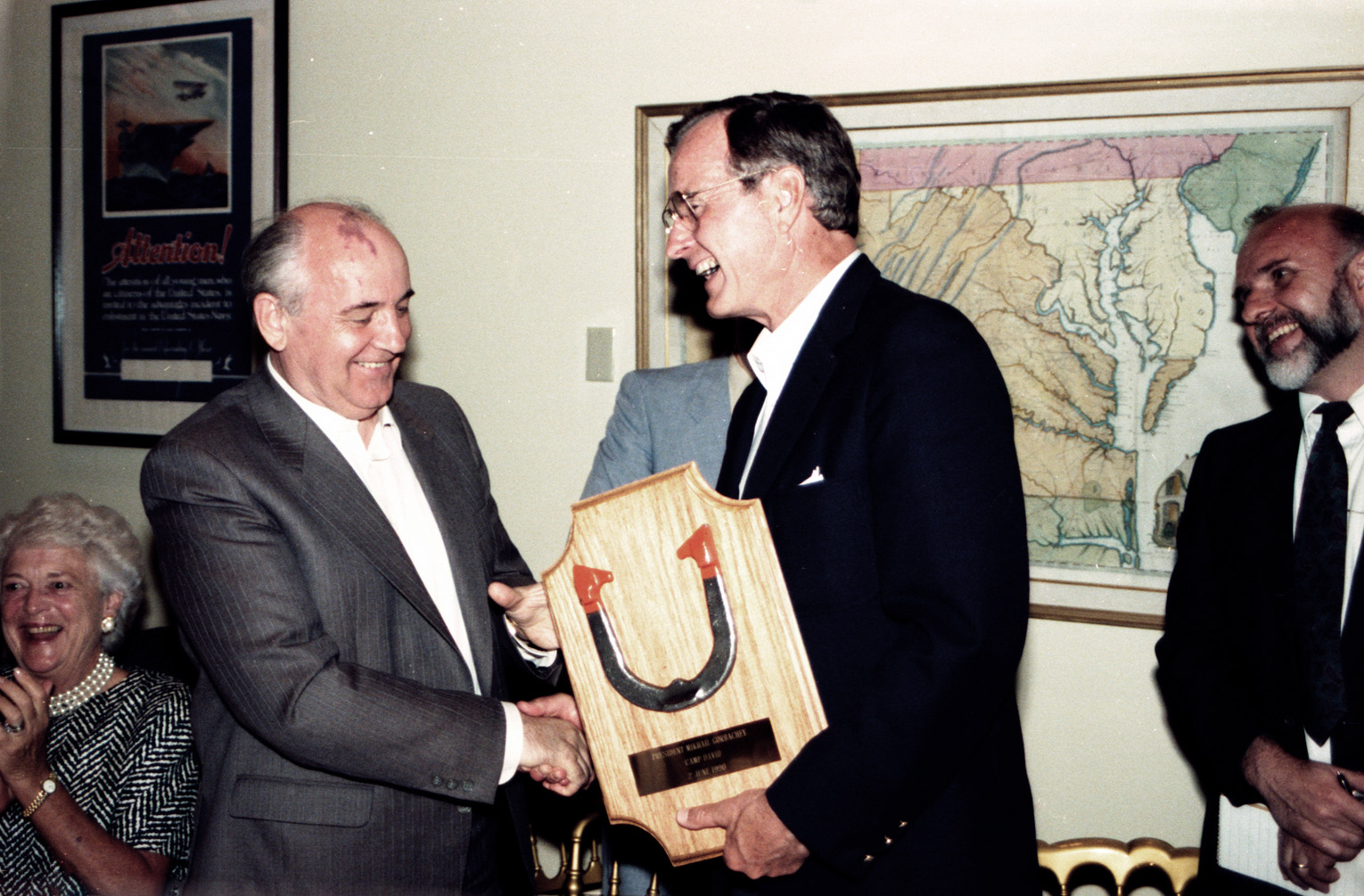 Bush presented Gorbachev with this plaque holding the horseshoe