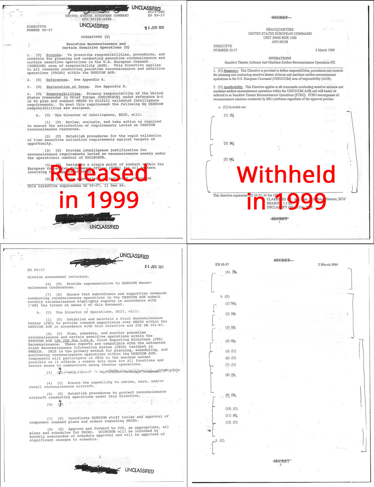 Side-by-side images of different declassifications of the same information