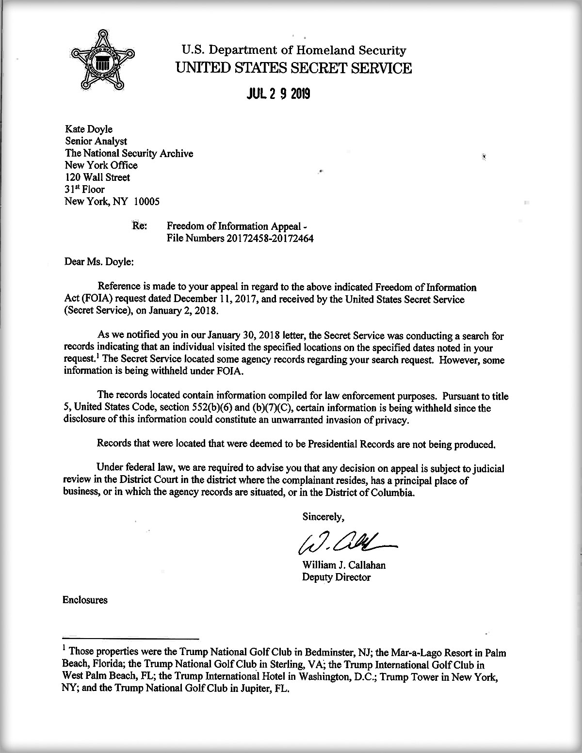 Secret Service response to Archive's December 11, 2017 FOIA Appeal