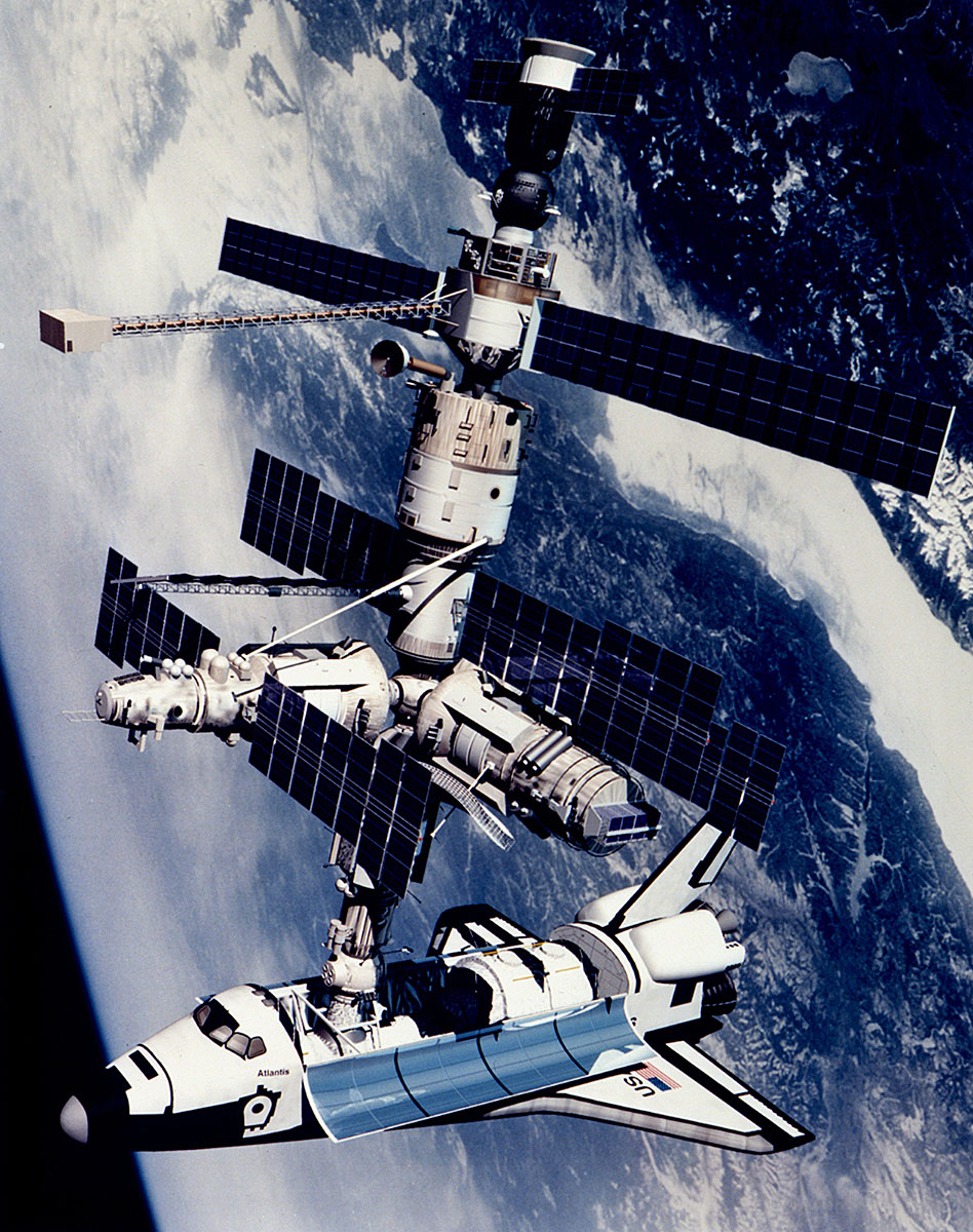 docking of the space shuttle Atlantis with the Russian Mir Space Station