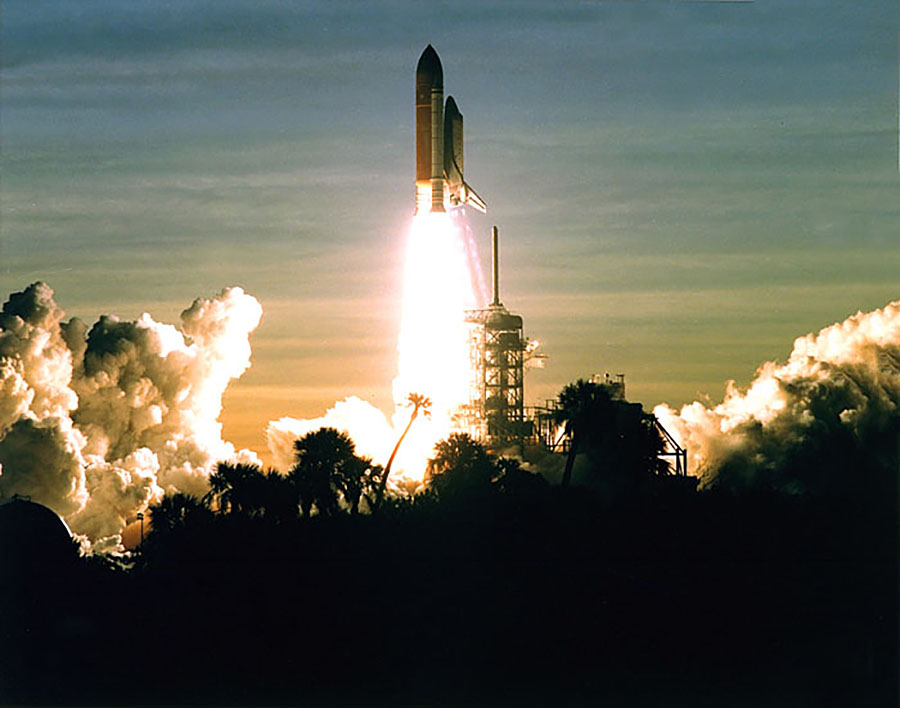 U.S. shuttle, launches from Kennedy Space Center