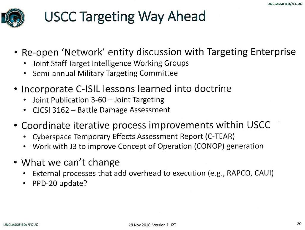 USCC Targeting Way Ahead