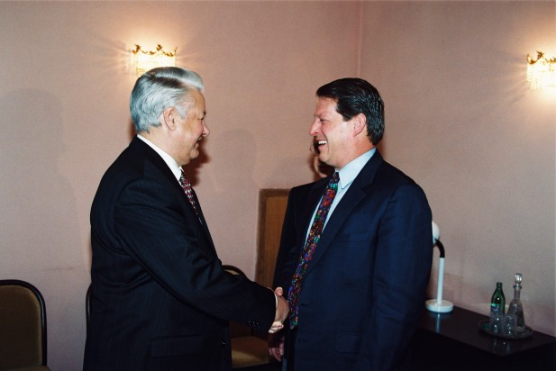 President Yeltsin with U.S. Vice President Al Gore in Moscow