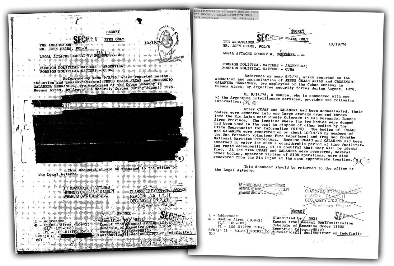 Two redactions of same Declassified File