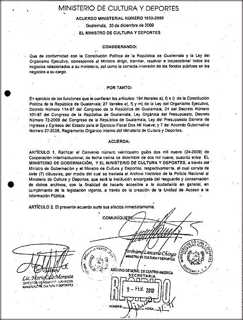 Acuerdo Ministerial Número 1052-2009 y 24-2009
