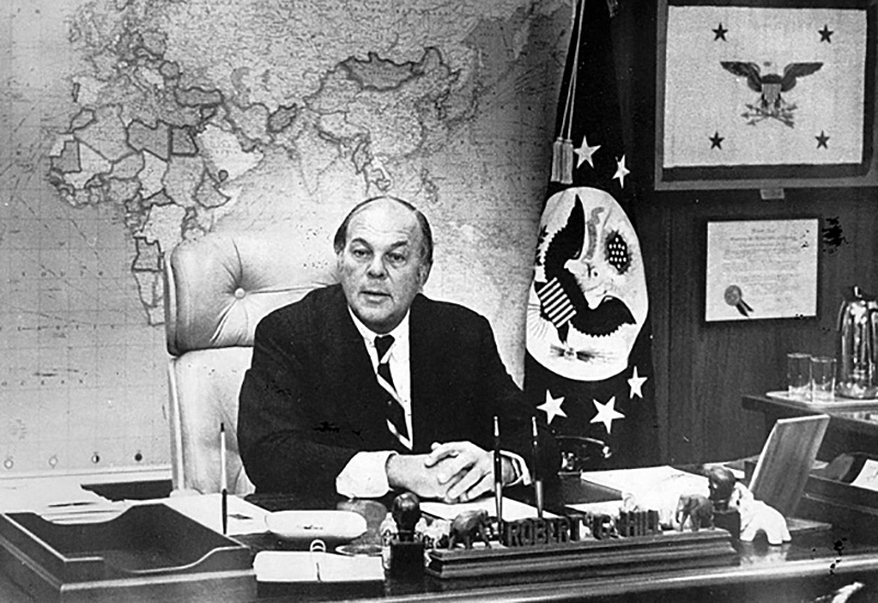 U.S. Ambassador Robert Hill shown at his desk in the Buenos Aires embassy in 1976