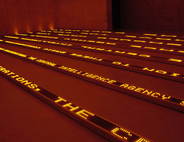 Electronic sign array featuring Blanton essay, Kunsthaus Bregenz, image © 2004 Jenny Holzer, courtesy ARS, NY.