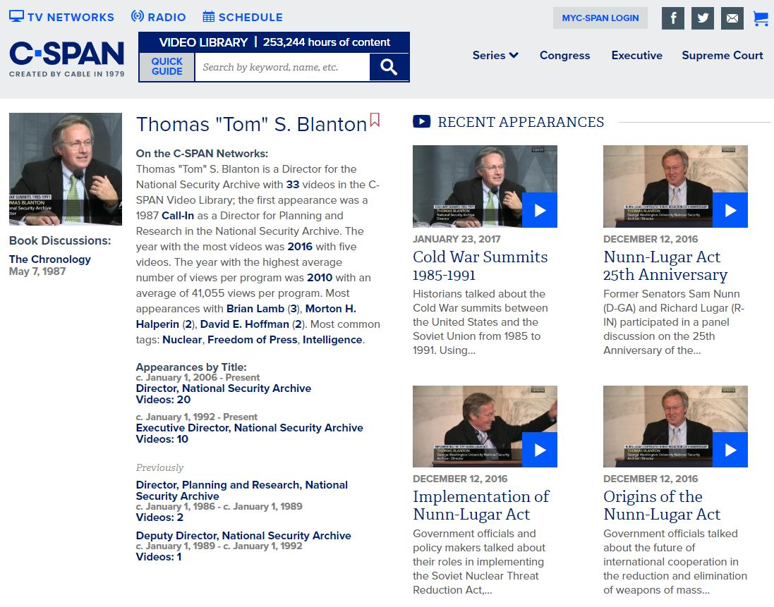 Tom Blanton on C-SPAN