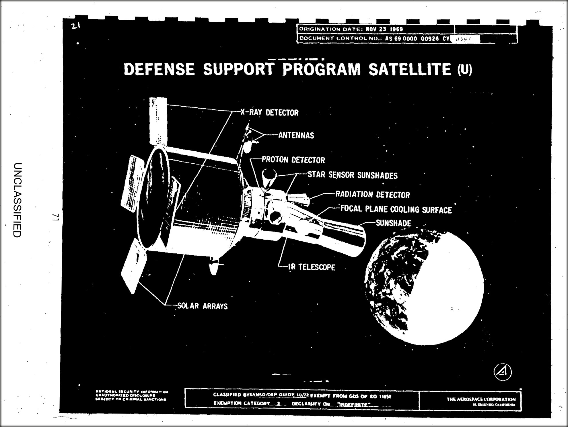 Drawing of Defense Support Program Satellite, including the infra-red telescope used to detect heat from missile launch plumes