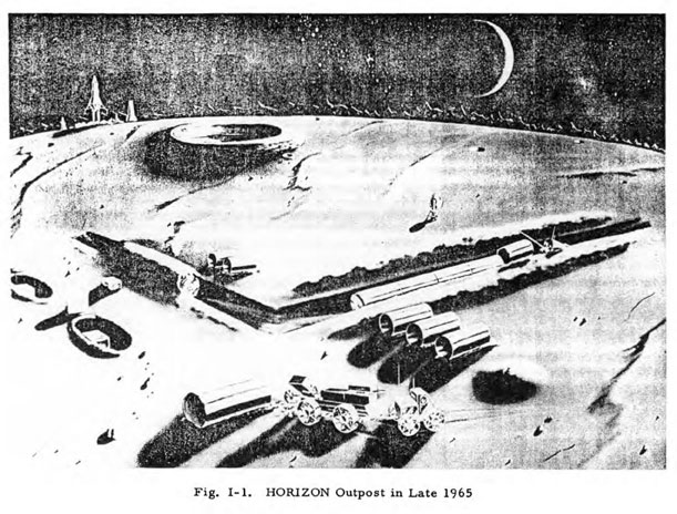 "Artist's sketch from a U.S. Army ""Proposal to Establish a Lunar Outpost"""