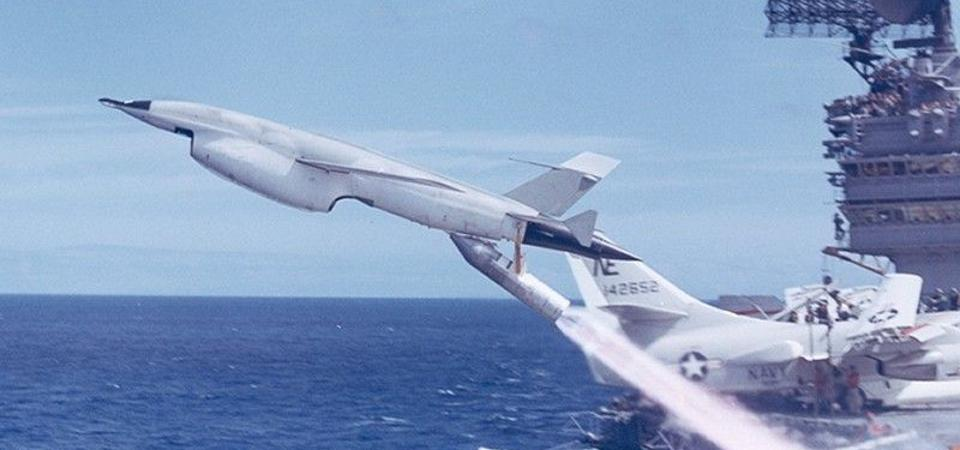 "An SK-5 reconnaissance drone shown launching from the U.S.S.  Ranger, circa 1969-1970. (U.S. Navy photo published in David Axe,  ""The U.S. Navy Flew Drones from Flattops ... In 1969,"" Forbes, 13 May  2020."