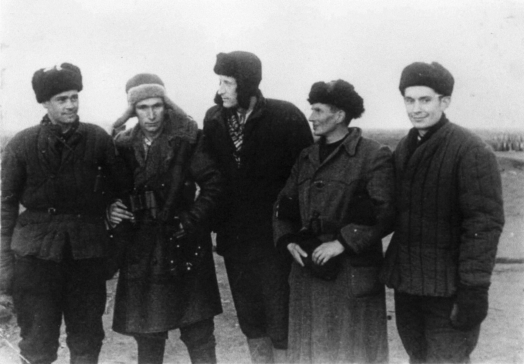 "Five German Scientists at Kapustin Yar in the fall of 1947 during Soviet testing of the V-2."" (Courtesy of Asif Siddiqi)"
