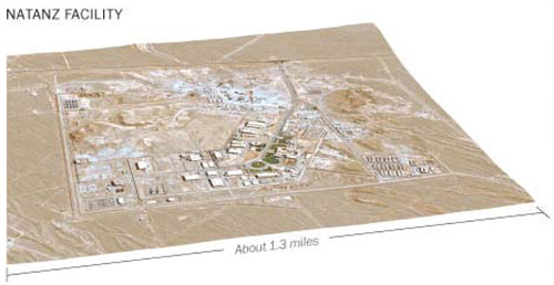 An overhead image of the Natanz nuclear enrichment facility in Iran