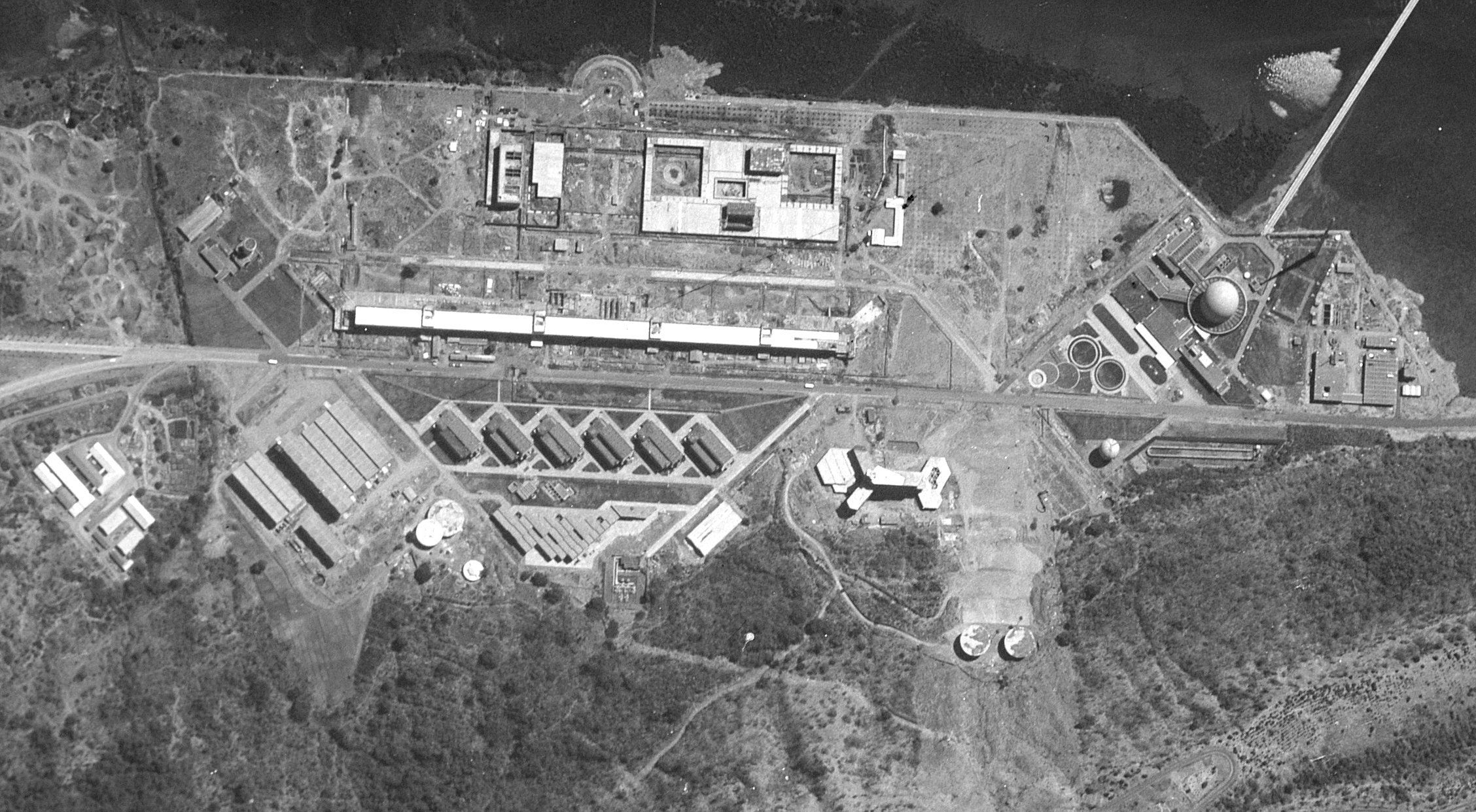 Trombay, the site of India's first reactor (Aspara) and a plutonium reprocessing facility, as photographed by a KH-7/GAMBIT satellite on February 19, 1966.