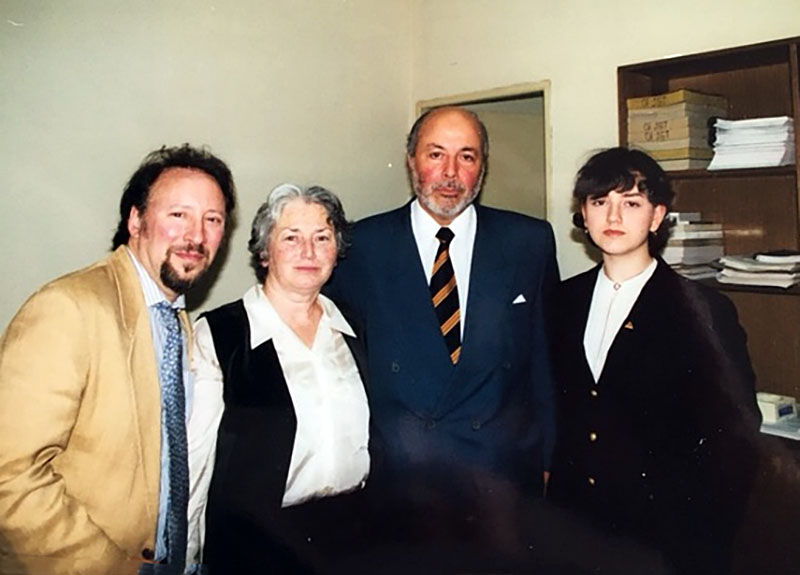 udge Guzman with Olga and Anna Weisfeiler, and Peter Kornbluh, December 2000.