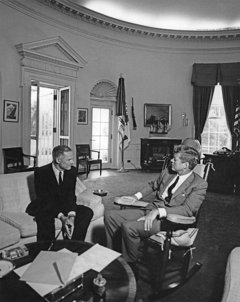 President Kennedy meets with newly-appointed Ambassador to South Vietnam, Henry Cabot Lodge. Oval Office, August 15, 1963