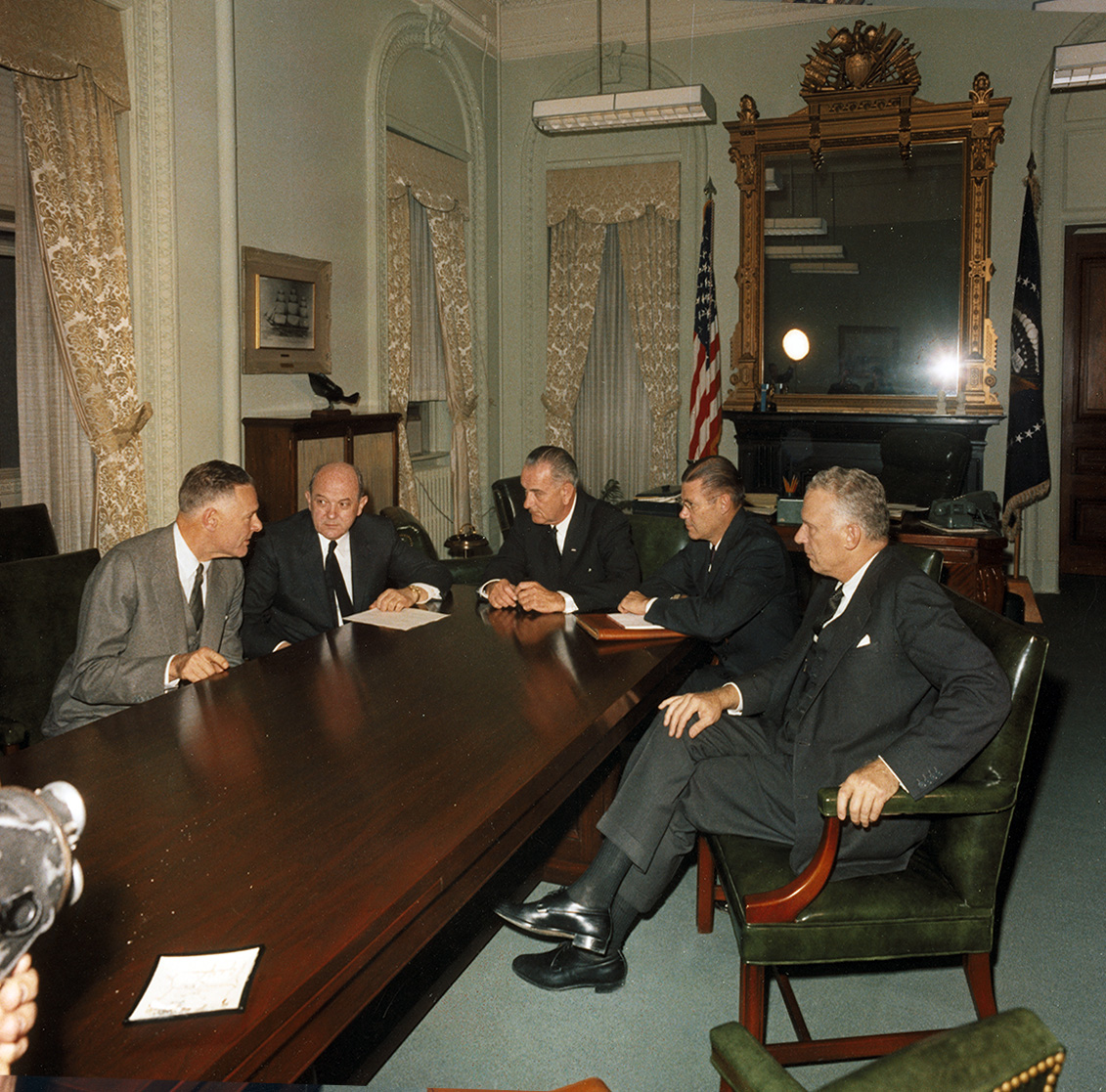 Lodge was the first diplomat that LBJ saw as president. Lodge returned to consult with JFK about the coup, learned while en route that he had been killed, and instead briefed LBJ while still in his EOB office (along with Rusk, McNamara, and Ball)