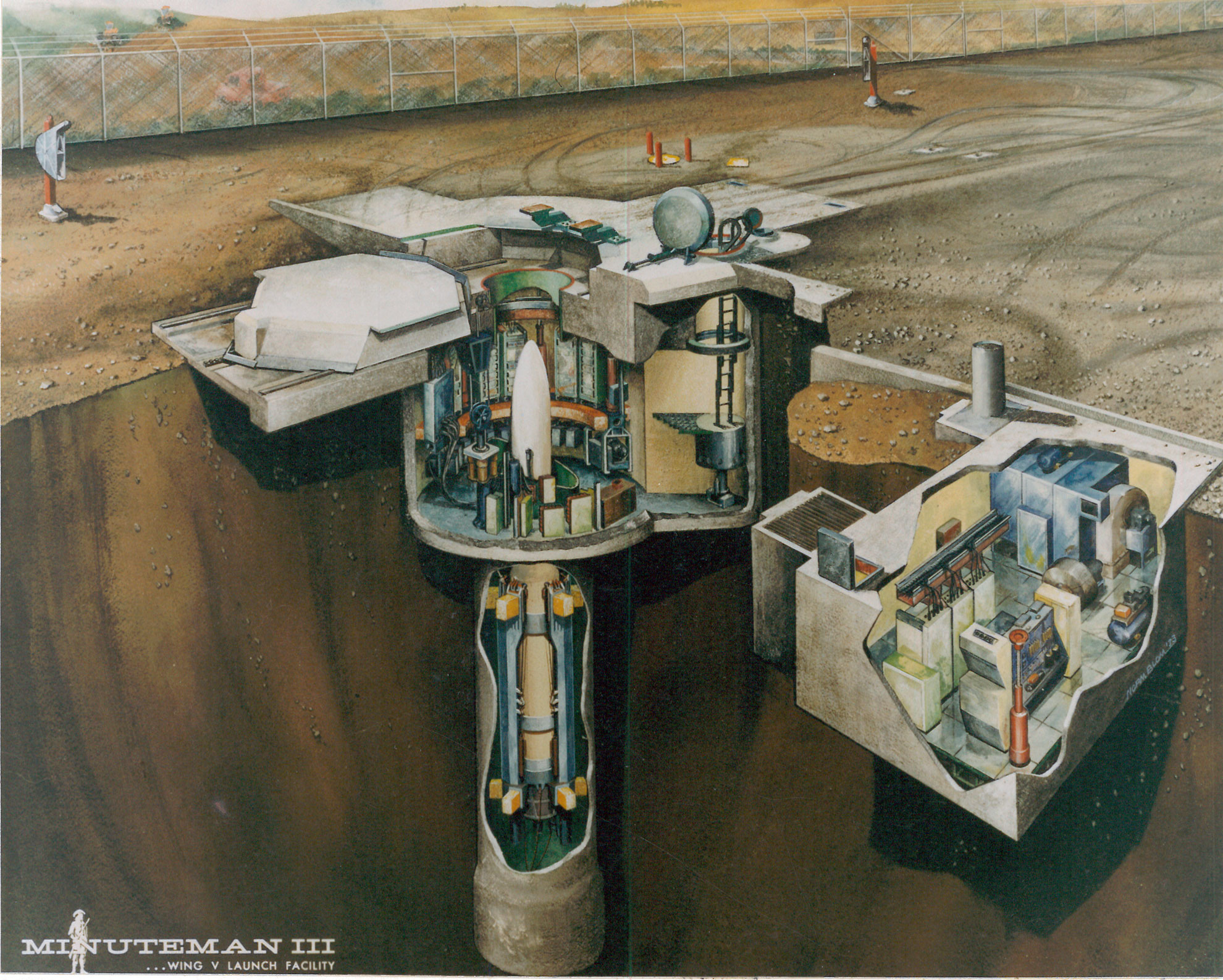 Cutaway drawing of the Minuteman III launch site and control post