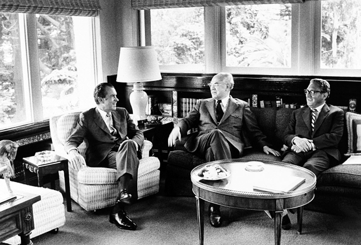 Nixon, Dobrynin, and Kissinger at Camp David in 1973