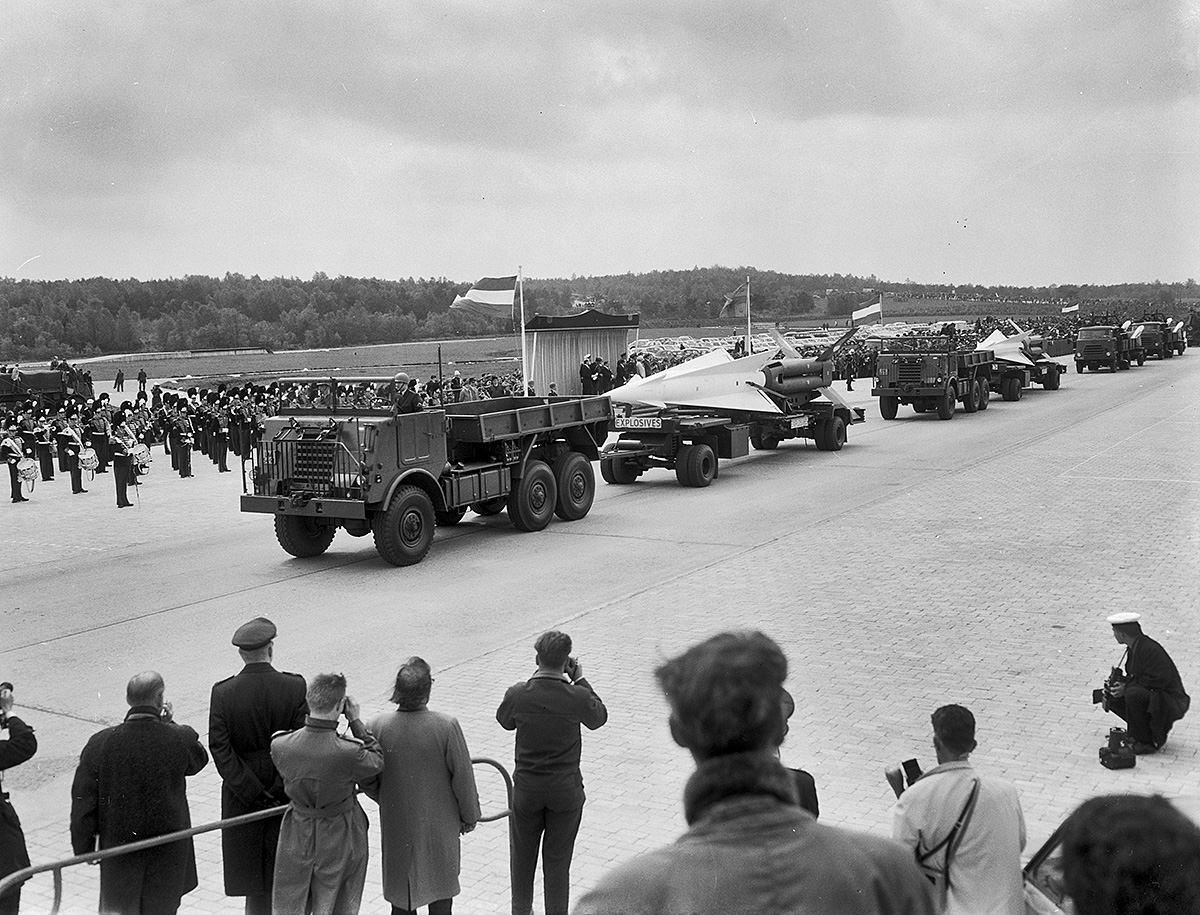 "Two nuclear-capable ""Nike Hercules"" air defense systems assigned to Dutch forces, shown in a military parade"