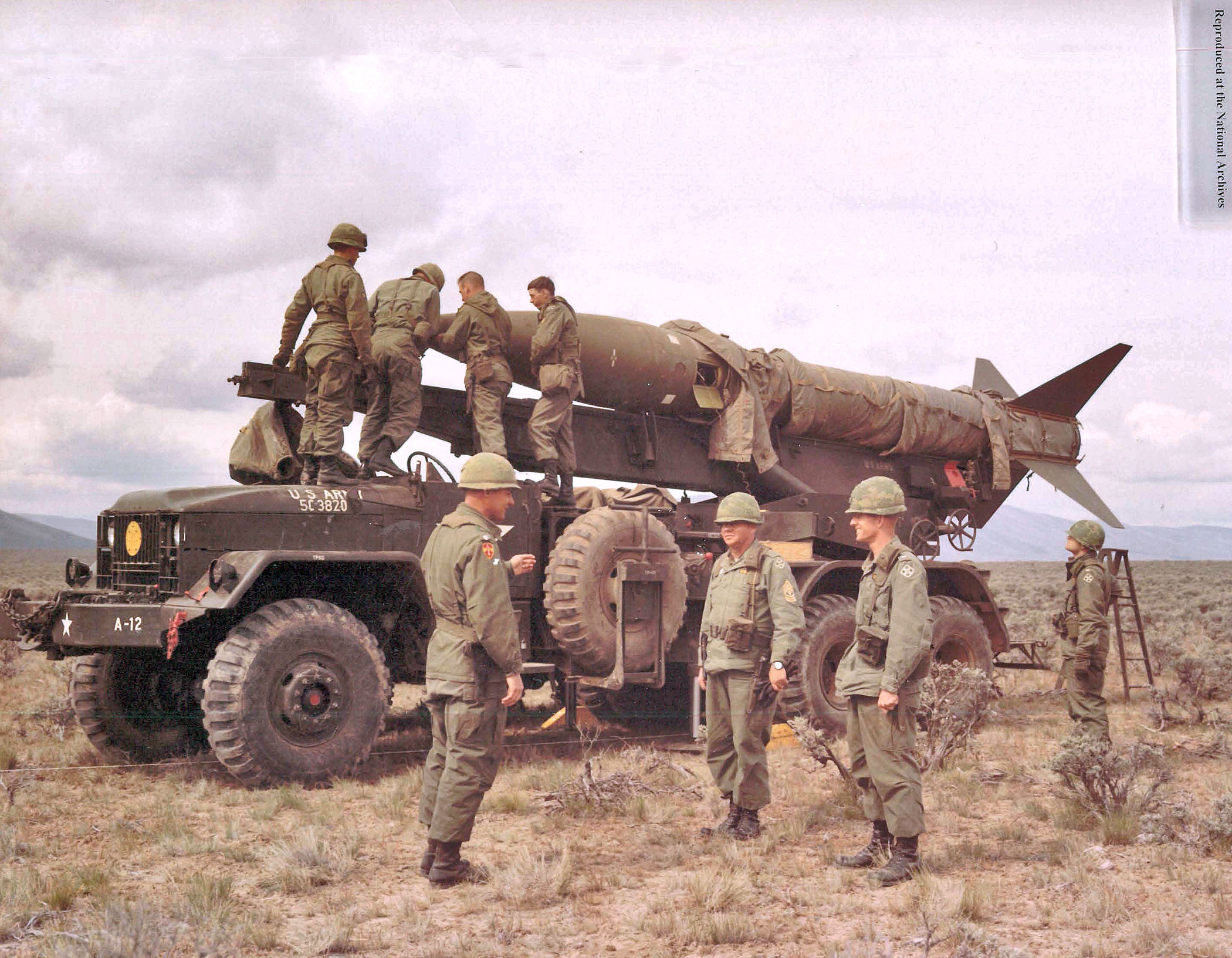 members of the 1st Battalion, 20th Field Artillery Regiment, preparing to fire a missile at Yakima Washington Firing Center during 1967