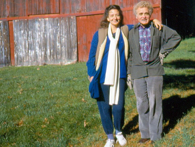 Yuri Orlov with his wife Sidney Orlov in 1987 in front of their barn in Ithaca.