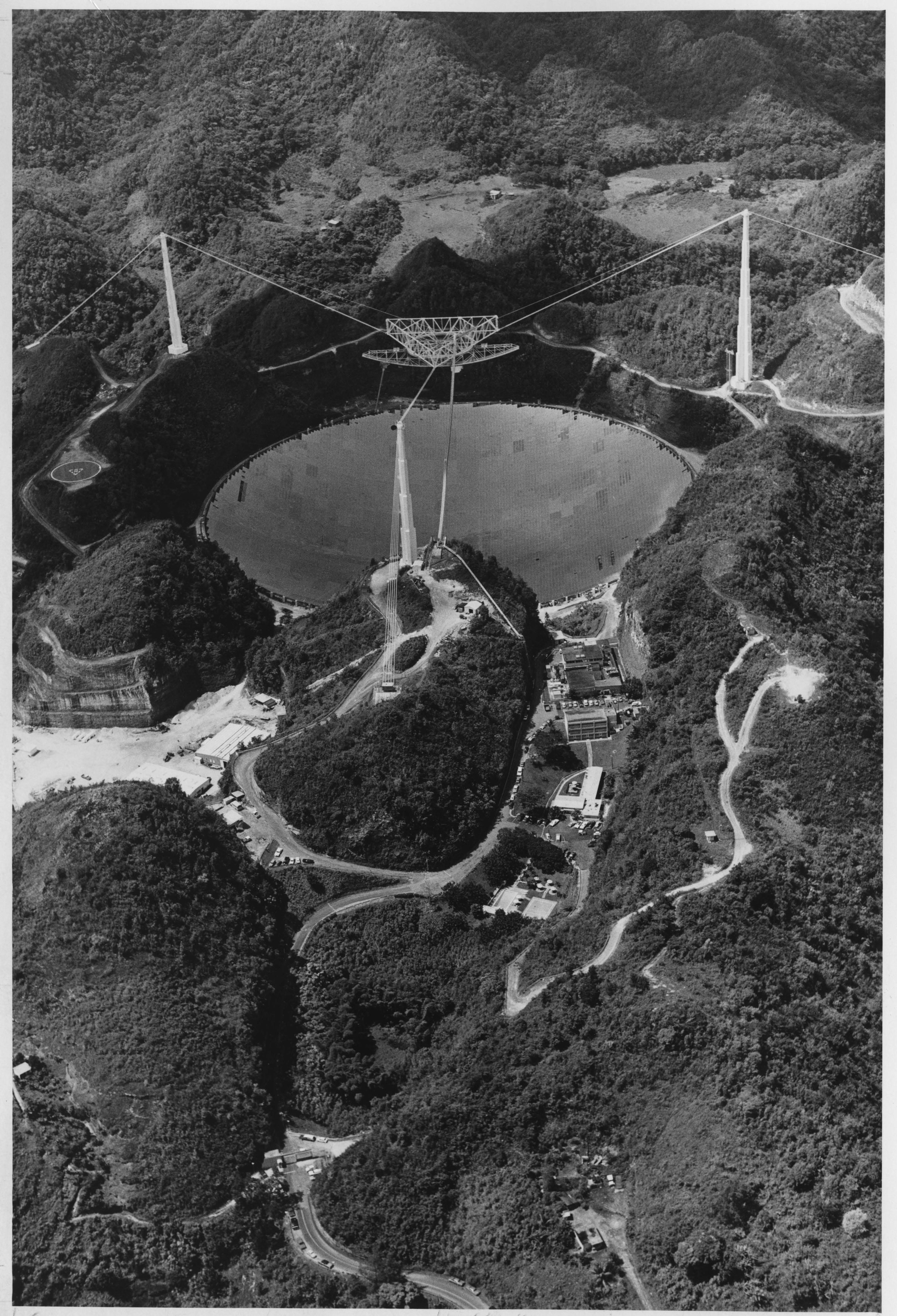 Aerial view of giant radio telescope at Arecibo Observatory