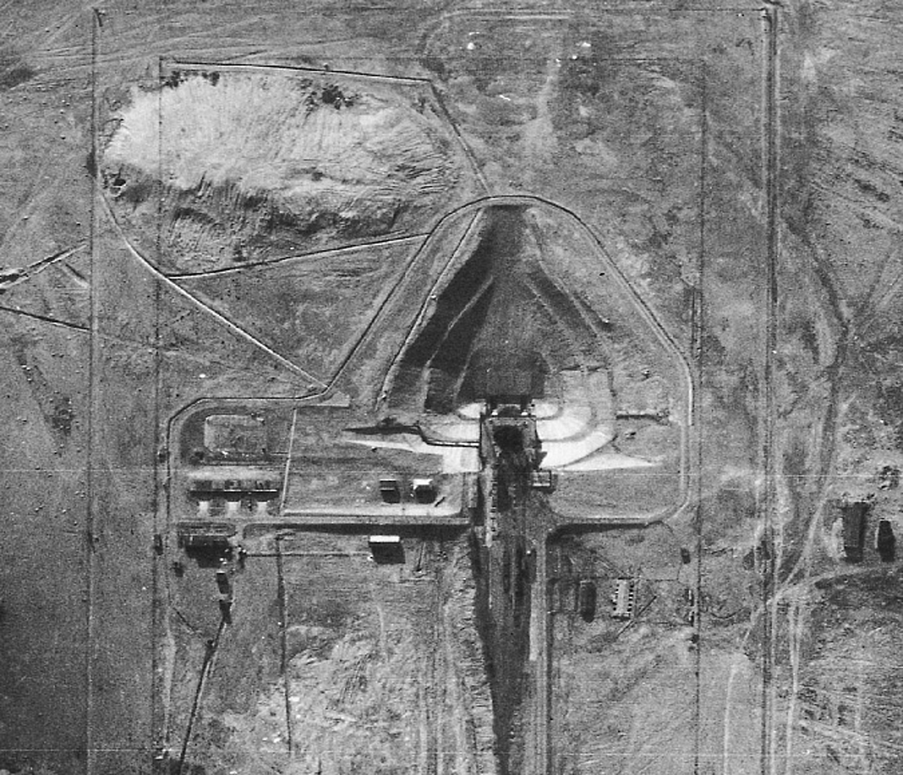 A 28 August 1957 U-2 photo, of unknown magnification, of the launch pad at Tyuratam in the Kazakh SSR.  This mission was the first to acquire good photography of this critical complex. (National Archives and Records Administration, College Park, MD, Record Group 263 [CIA].)