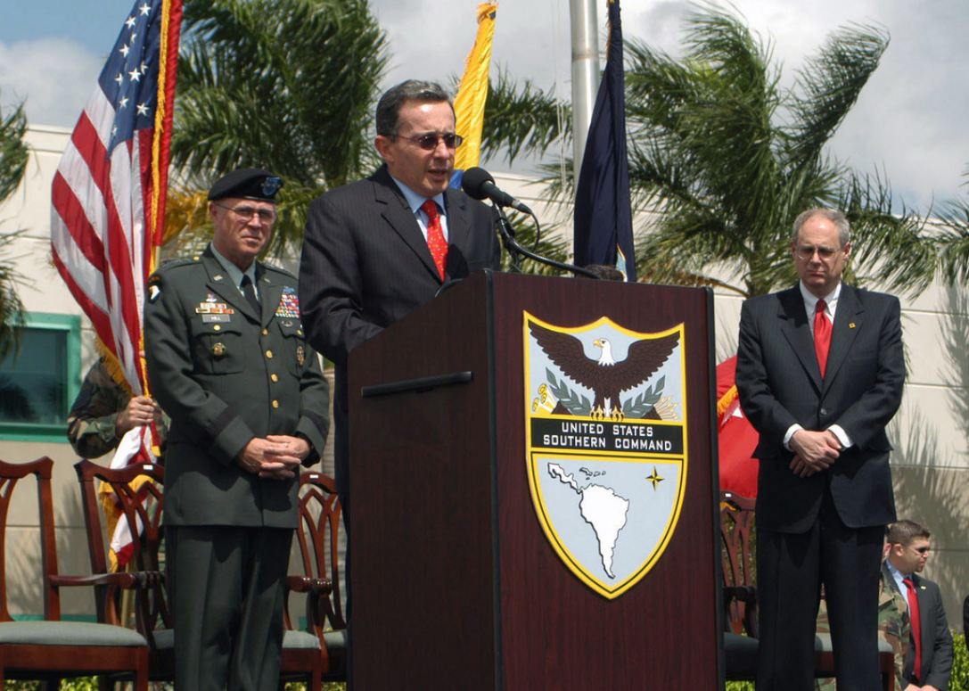 President Álvaro Uribe addresses an audience at U.S. Southern Command in Doral, Florida