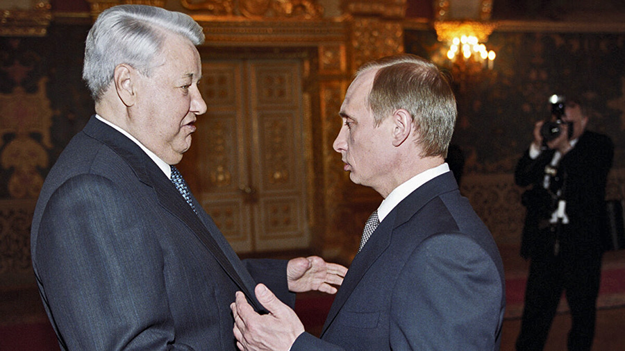 The Yeltsin to Putin hand-off of power and the presidency, December 31, 1999.